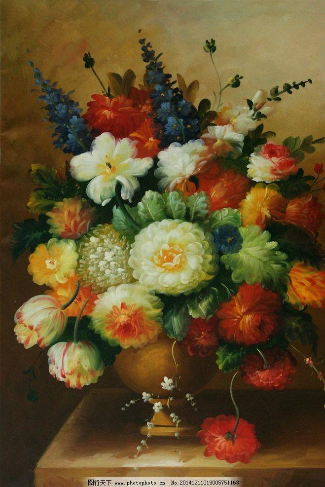 油画 花卉 竖构图 写实油画 高清油画 欧式花卉 新古典花卉 装饰画
