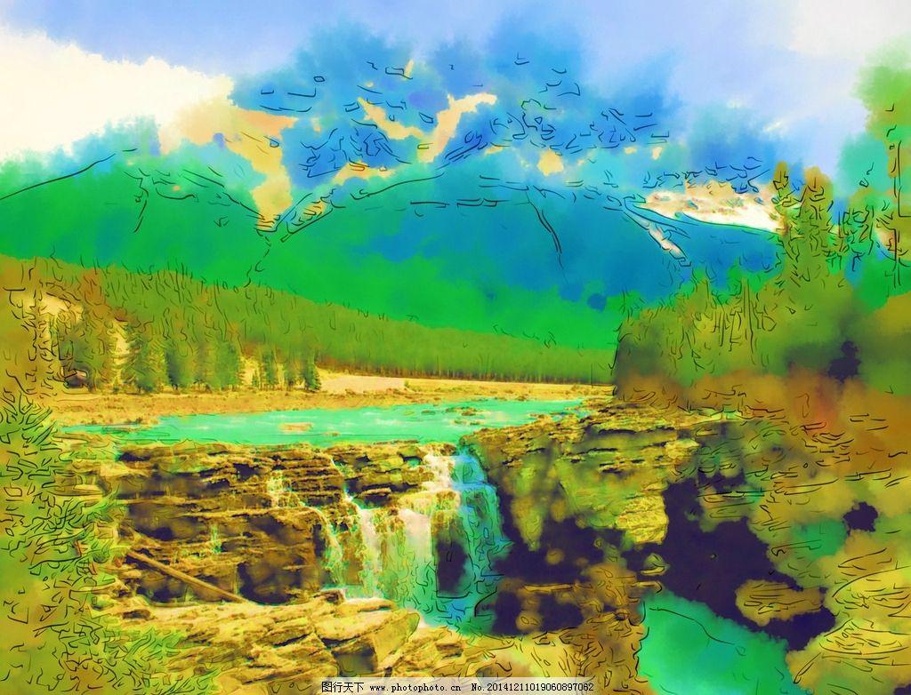 风景油画 自然风景 山水画 风景写真 美术 手绘 合成油画 水彩画 水墨