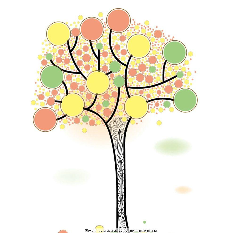 卡通树素材 矢量树 大树 儿童插画树 树 背景 设计 底纹边框 背景底纹