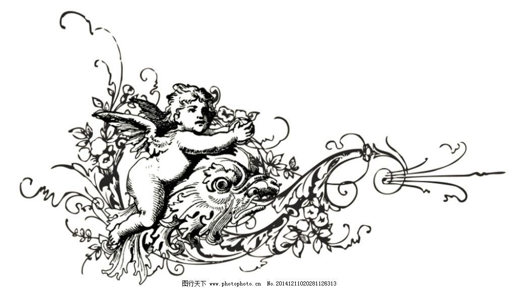 欧式复古花纹图片,天使 龙 矢量 底纹边框 背景底纹