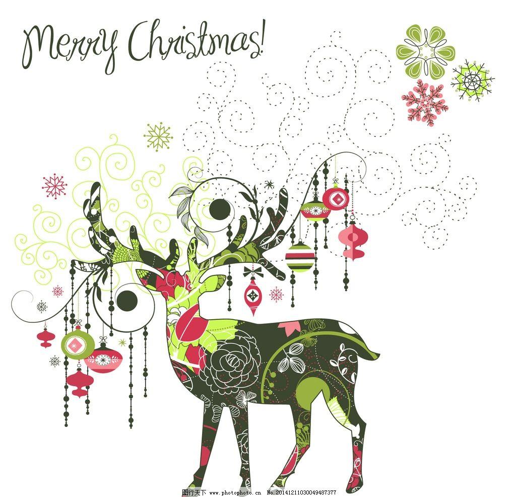 圣诞鹿麋鹿手绘图片