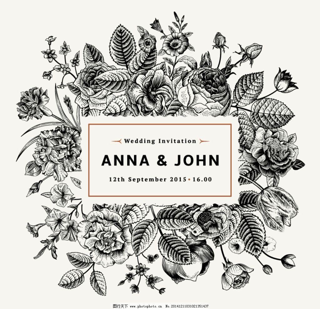 手绘花卉婚礼素描logo设计图片