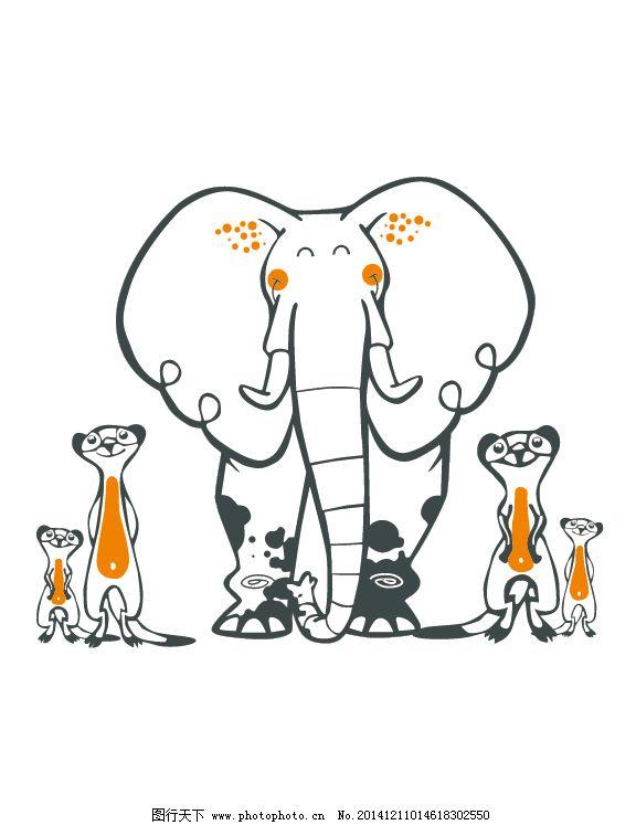 手绘线条纹大象