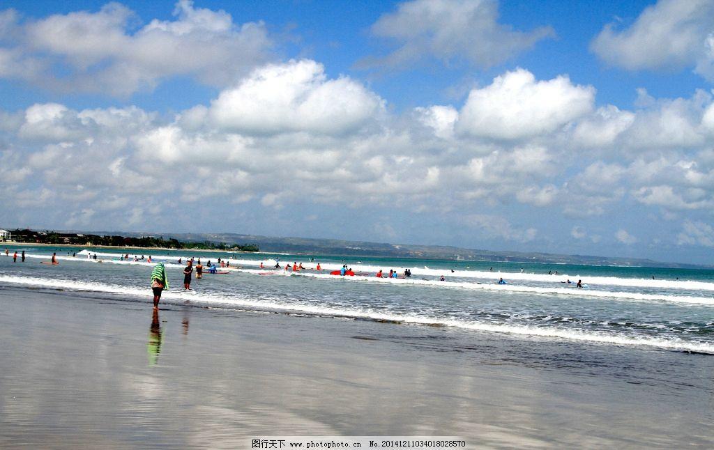 海滨景色 印尼 巴厘岛 旅游 大海 海边 海滩 冲浪 蓝天 白云