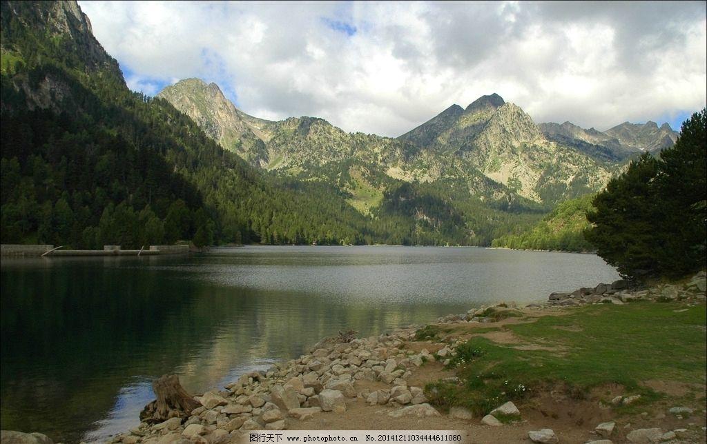 绿树 湖泊 高山 蓝天 白云 湖水 倒影 水库 摄影 自然景观 山水风景