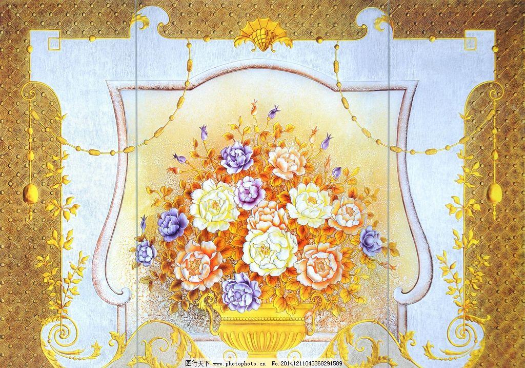 艺术玻璃高清牡丹花欧式图片