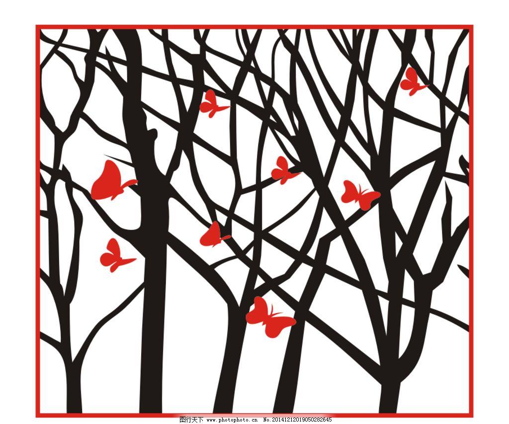 矢量树枝花纹 蝴蝶树枝装饰