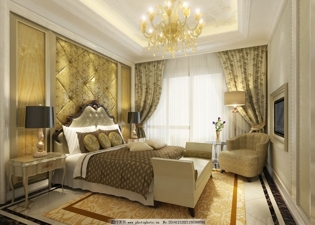 简欧卧室 简欧风格 室内装修 家装 欧式  设计 3d设计 室内模型 150图片