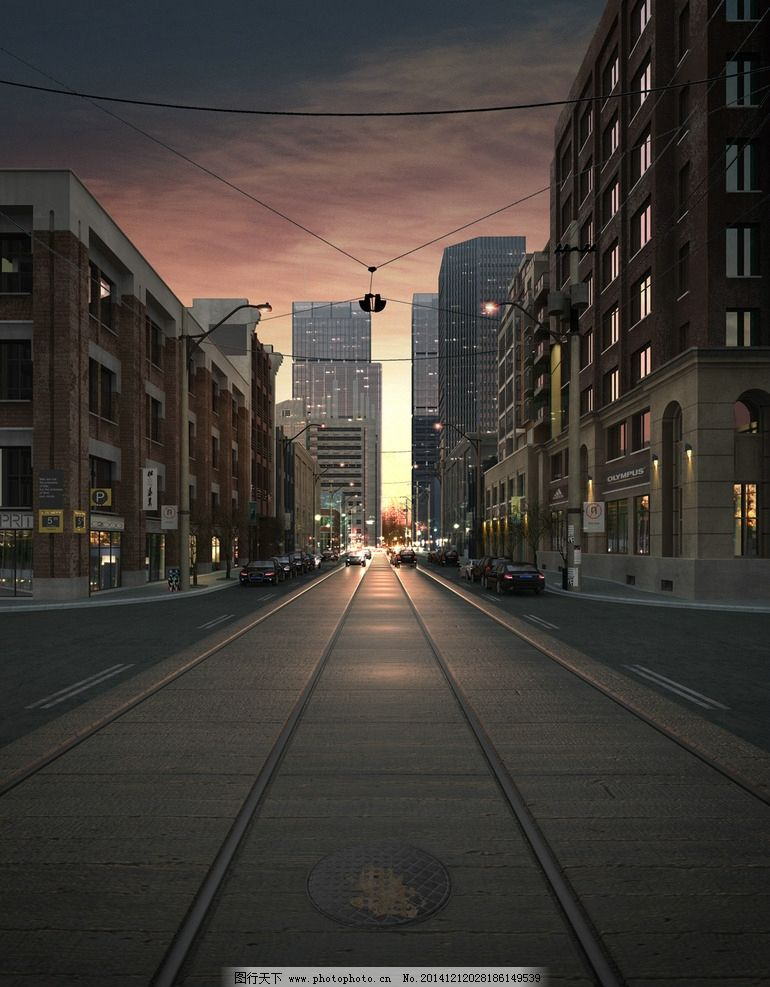 城市街道景观贴图图片
