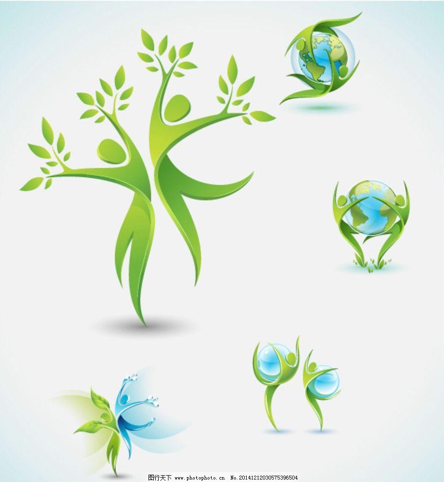 树 地球 环保立体小人 动态 简约 蓝色 图标 小人 水 水资源 跳舞