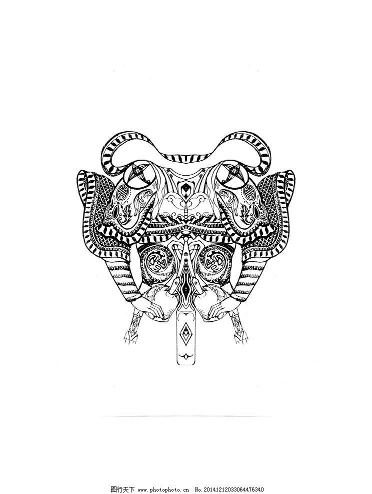 中国风 t恤图案 中国 门神 酷炫 时尚图案 手绘图案 黑白图案 单色