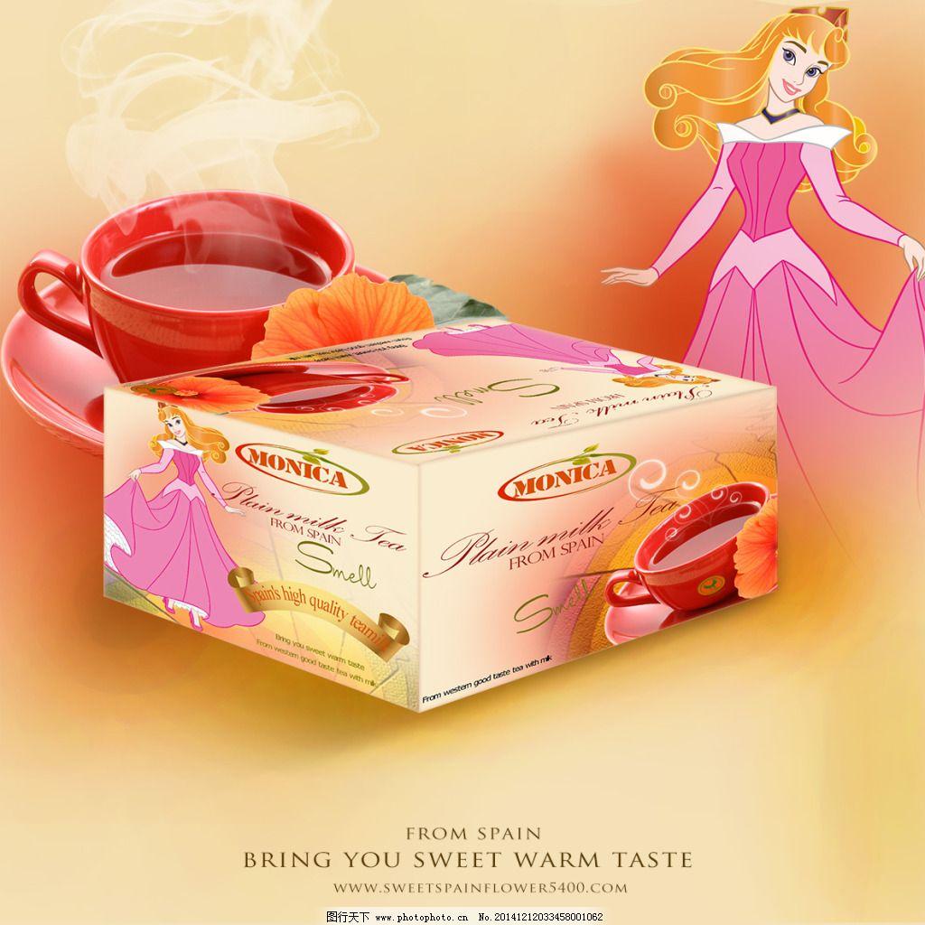 红茶包装设计免费下载 白雪公主 茶杯 茶叶 动画 红茶 卡通 饮料 红茶