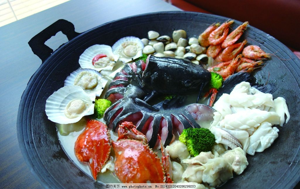 海鲜拼盘 蟹 扇贝 江团 虾 饺子 摄影 餐饮美食 传统美食图片