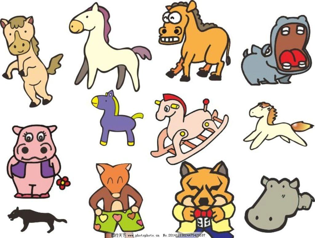 河马 牛 图画素材 童话世界 背景素材 动物世界 简笔画 卡通动物 cdr