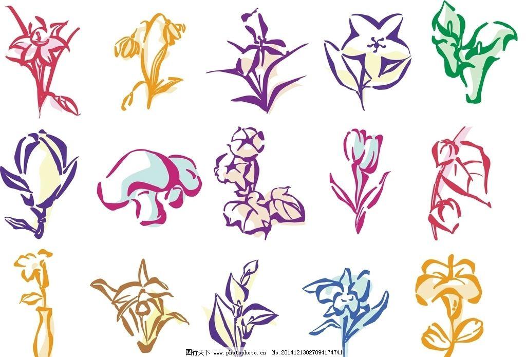 简笔手绘花卉插画