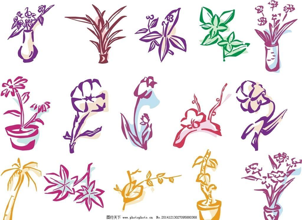 手绘花卉 素描花朵笔刷 简笔画 抽象 梦幻花卉 植物花纹 手绘花朵