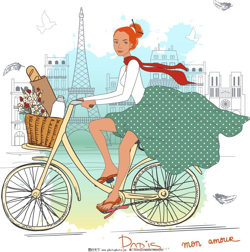 骑自行车的女生免费下载