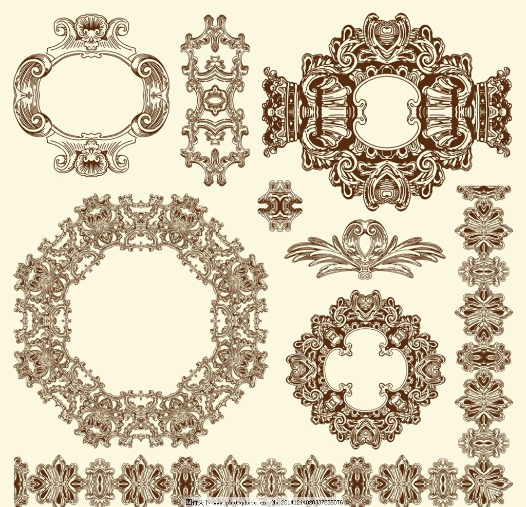 建筑花纹 欧式花纹 花边 边框 花纹分割线 装饰花纹 古典 复古