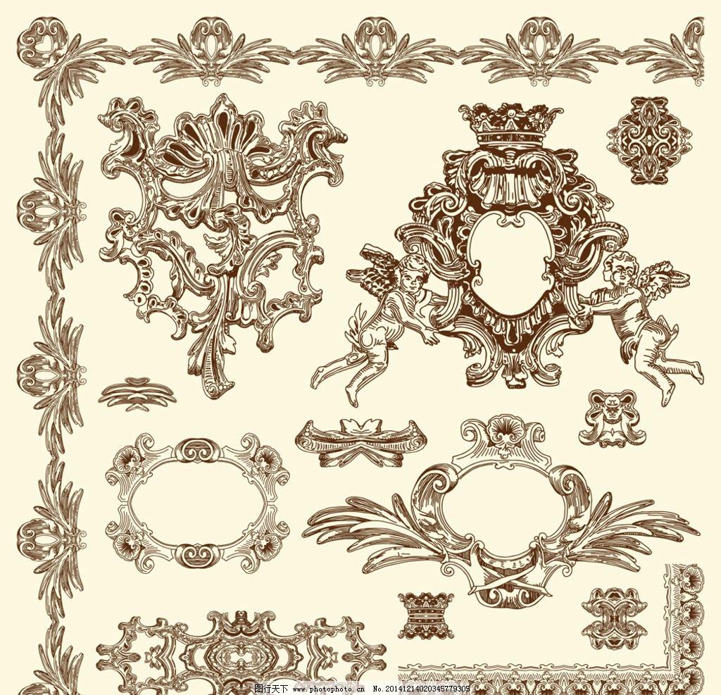 建筑花纹 欧式花纹 花边 边框 花纹分割线 装饰花纹 古典 复古 植物