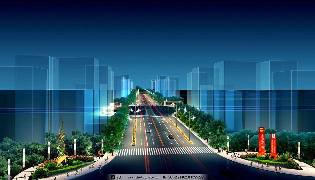 城市马路景观夜景图片