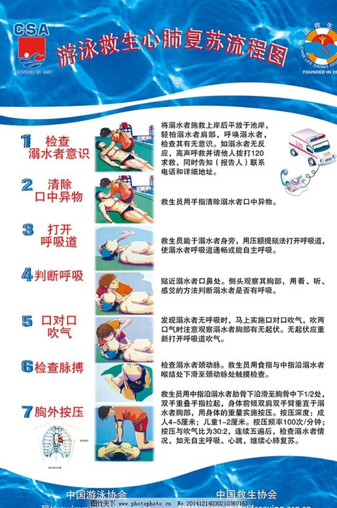 csa 游泳 心肺 复苏 流程图 原创 设计 广告设计 展板模板 100dpi psd