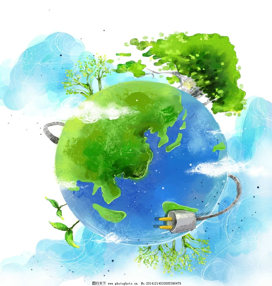 手绘绿色地球 卡通绿色地球