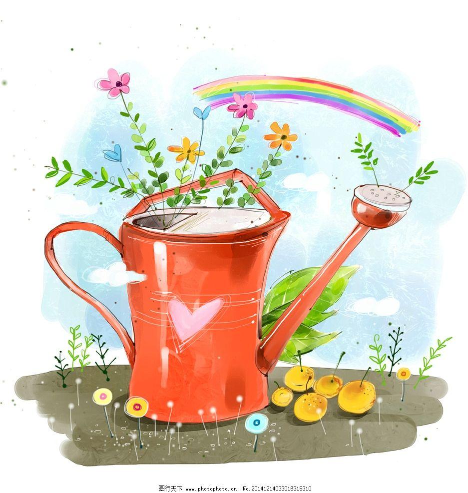 手绘卡通洒水壶节能环保素材图片