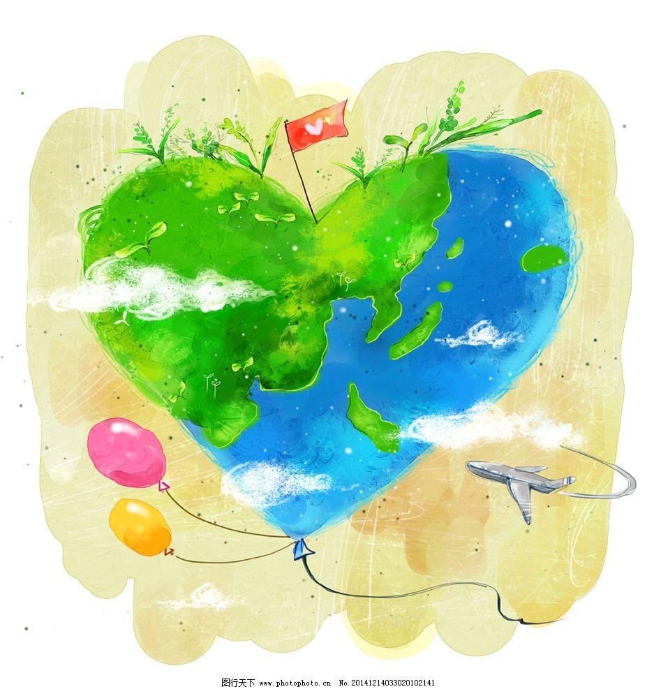 手绘绿色心型地球素材图片