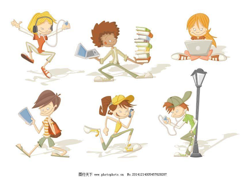 eps 卡通 可爱卡通人物 男孩 女孩 跑步 人物 矢量素材 书包 书本