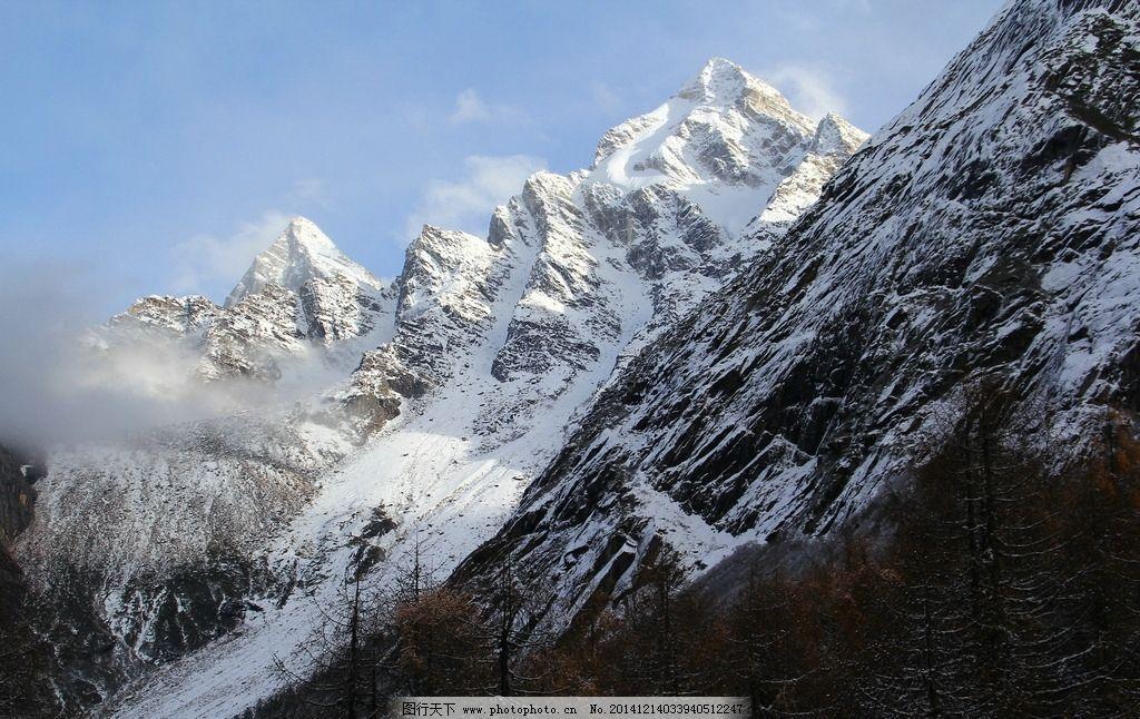 雪山 风景照 秋天 毕棚沟 雪景 摄影 国内旅游