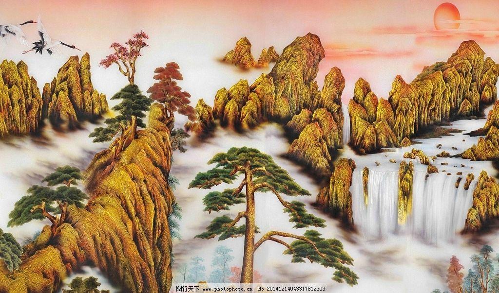 迎客松 山峰 云朵 白鹤 仿彩雕 火烧云 文化艺术 传统文化