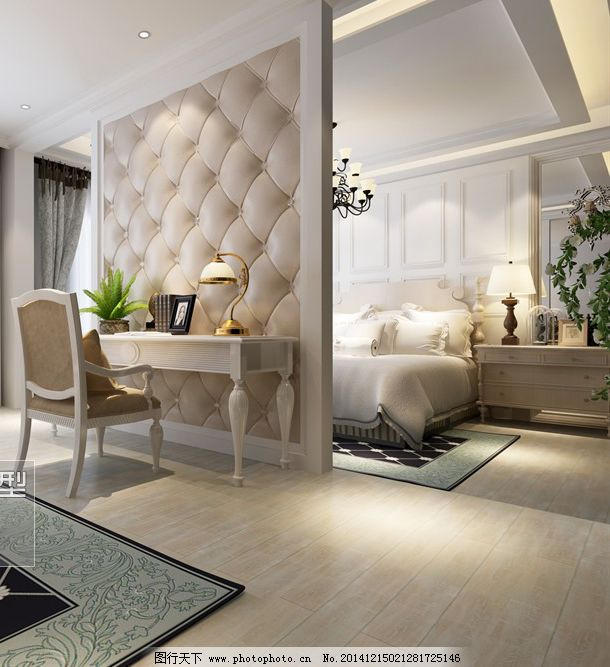 双人床      清新 时尚 欧式      双人床 梳妆台 3d模型素材 室内