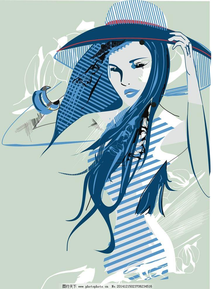 手绘美女 女孩 女人 时尚少女 卡通女生 简笔画插图 矢量人物 设计 设
