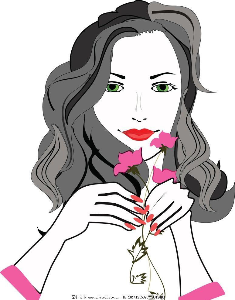 手绘美女 女孩 女人 时尚少女 卡通女生 简笔画插图 矢量人物 设计