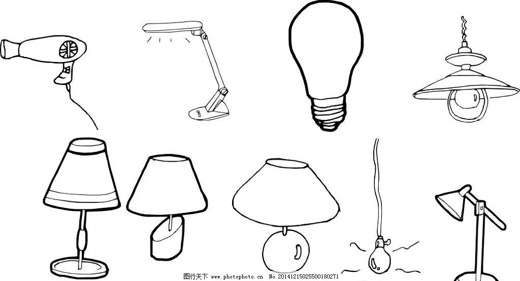 灯泡黑白设计手绘