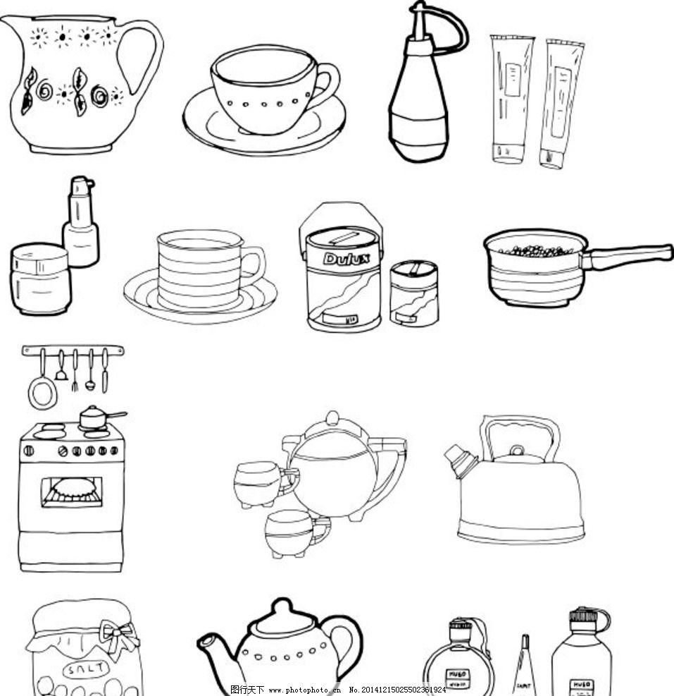 线条画 儿童画 简笔画 黑白画 黑白素材 设计图 效果图 矢量 cdr 家庭