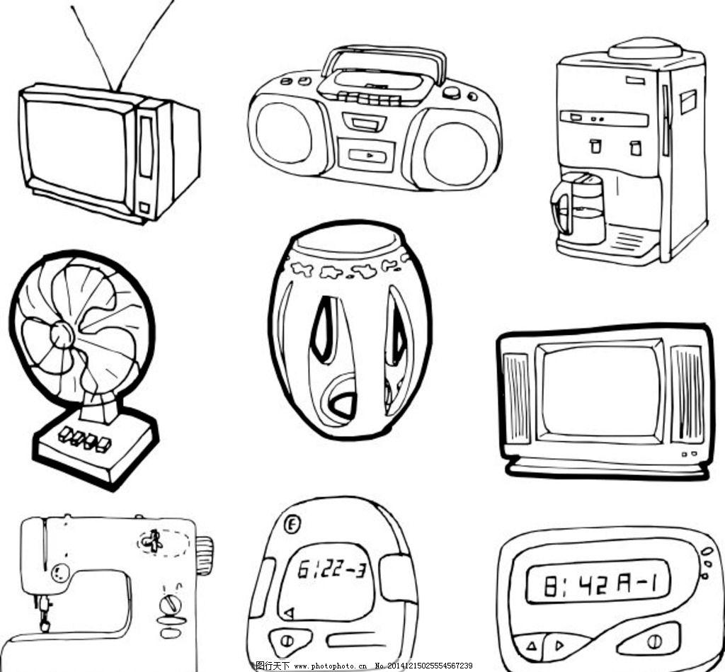 电扇 凳子 缝纫机 计算器 计时器 生活用品素材 生活用品模板 线条画