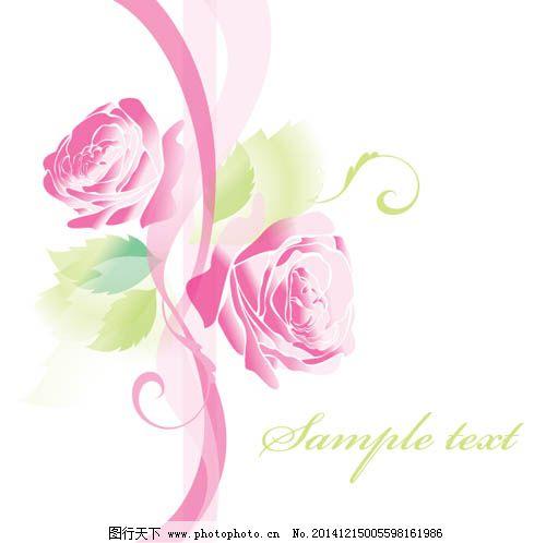 粉色玫瑰花背景图免费下载 粉色丝带 花瓣 手绘玫瑰 叶子 手绘玫瑰图片