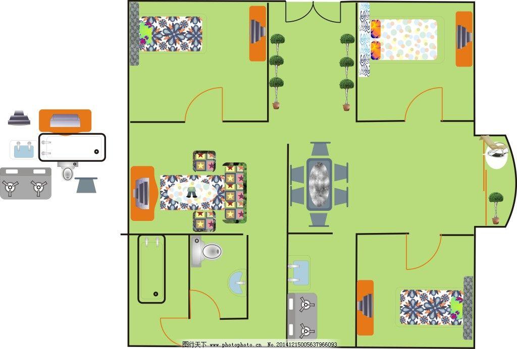 三室一厅平面设计图