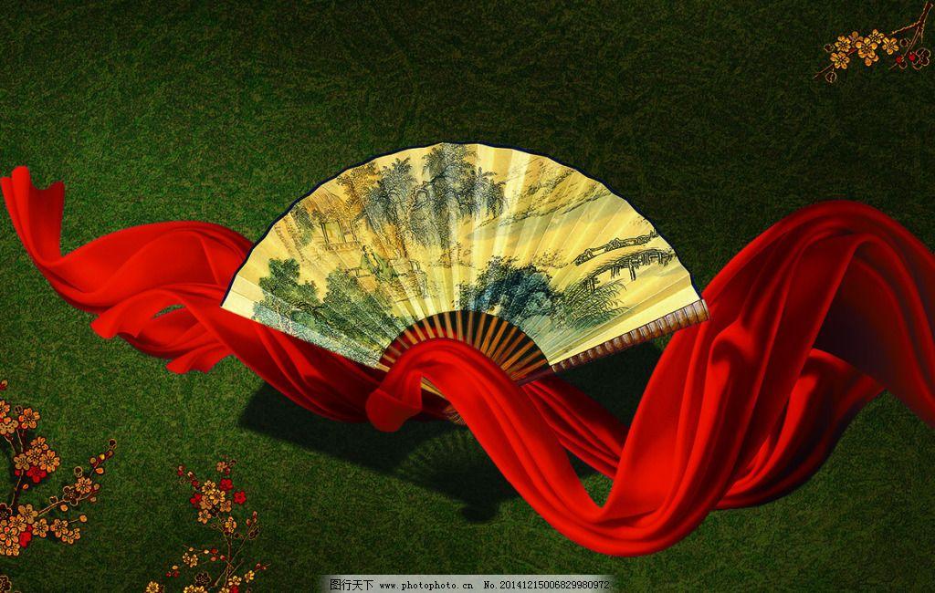中国风扇子海报背景