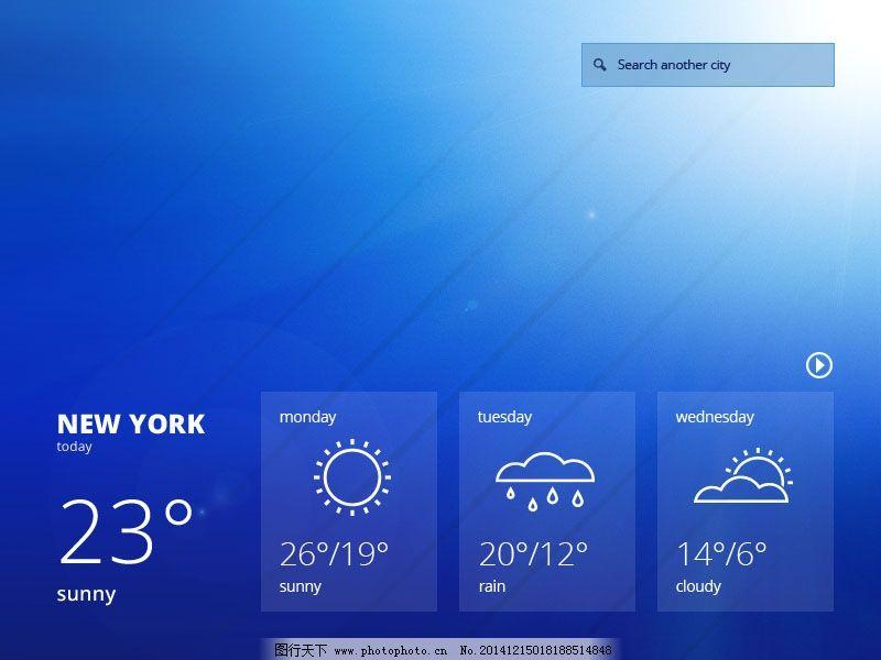蓝色小天气模块界面ui 黑色背景 天气预报 蓝色色调图片