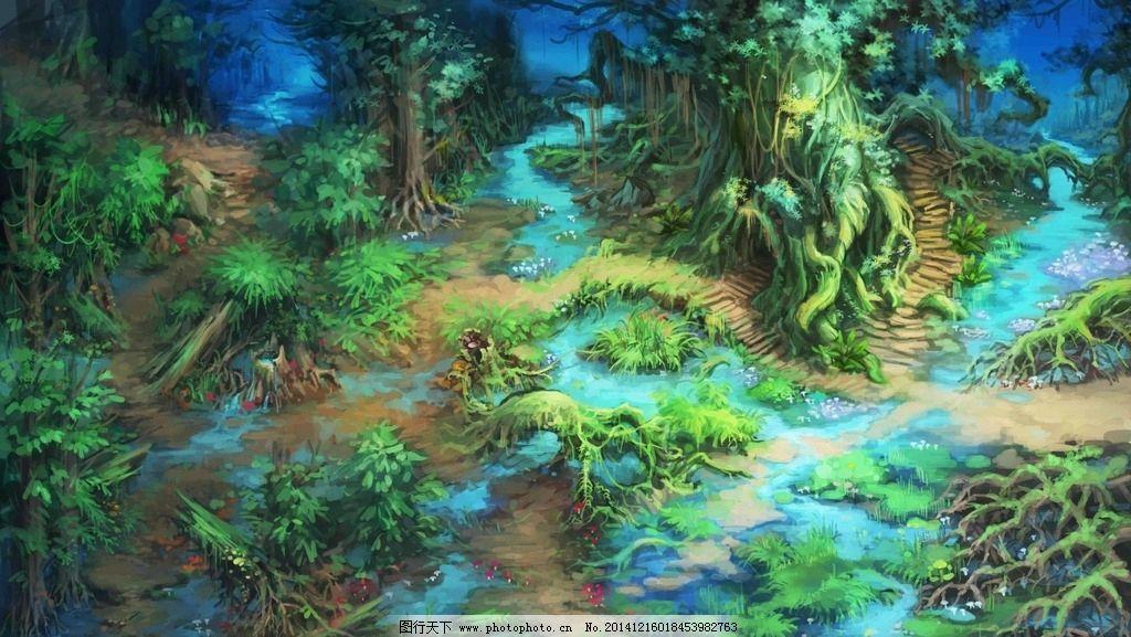 森林动漫场景手绘