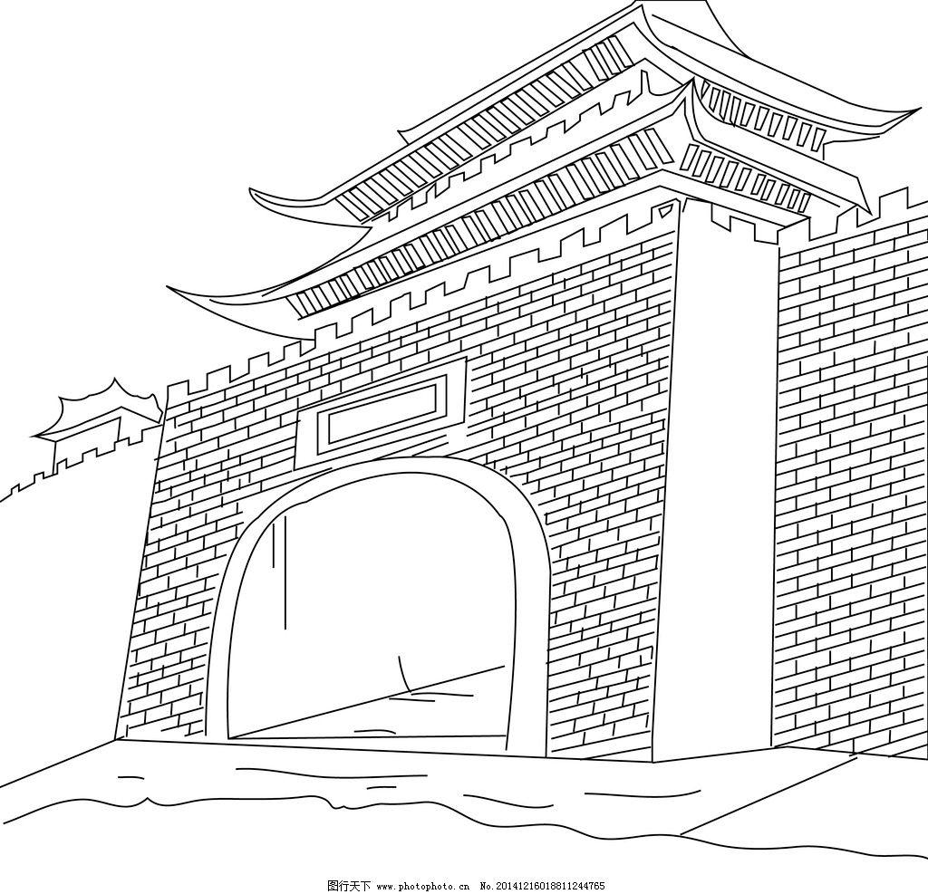 手绘线描城楼图片