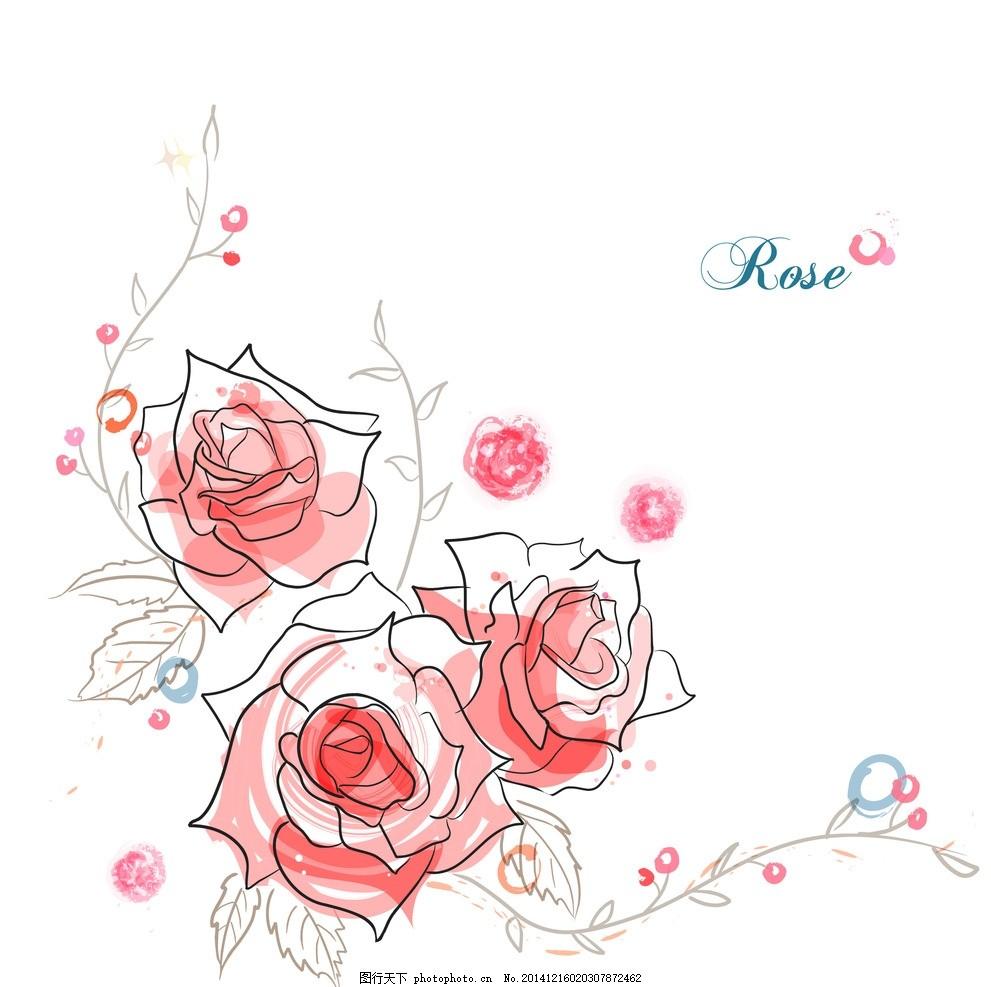 手绘矢量玫瑰花线条花朵
