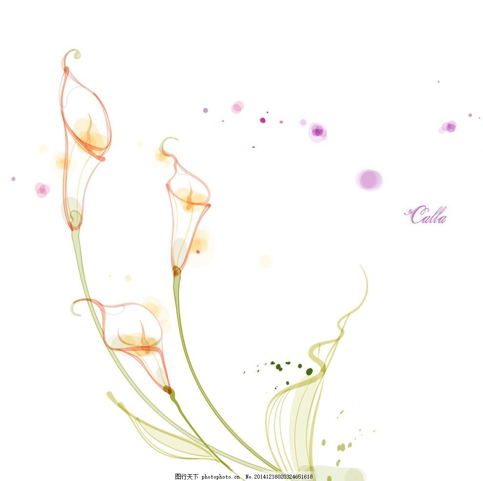 手绘矢量马蹄莲线条花朵 手绘马蹄莲 手绘花朵 时尚花纹花朵 花纹背景