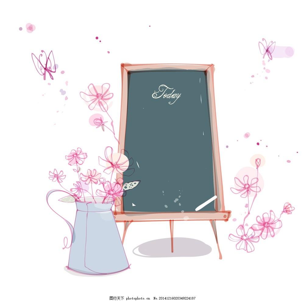 卡通黑板 手绘花朵 线条花朵 时尚花纹花朵 花纹背景 花朵图案 花边