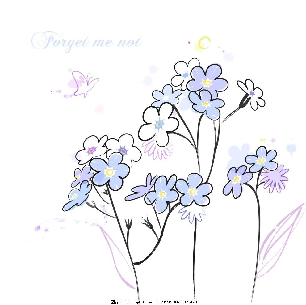 手绘矢量勿忘草线条花朵