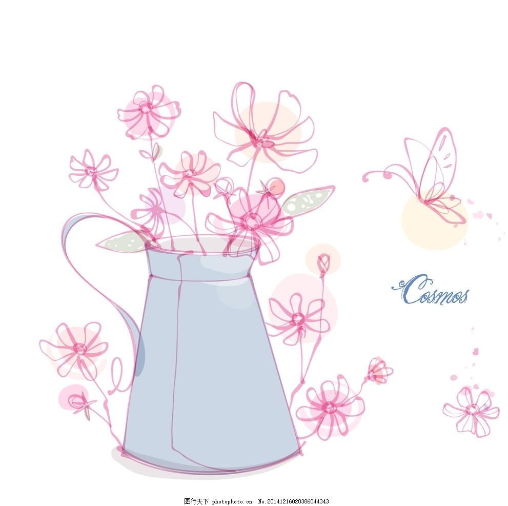 茶壶 手绘花朵 线条花朵 时尚花纹花朵 花纹背景 花朵图案 花边 边框