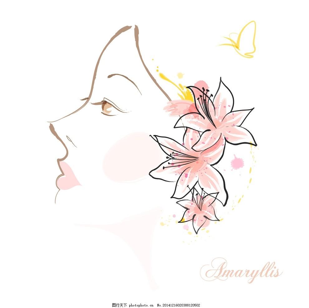 手绘矢量孤挺花线条花朵,手绘孤挺花 手绘美女 手绘