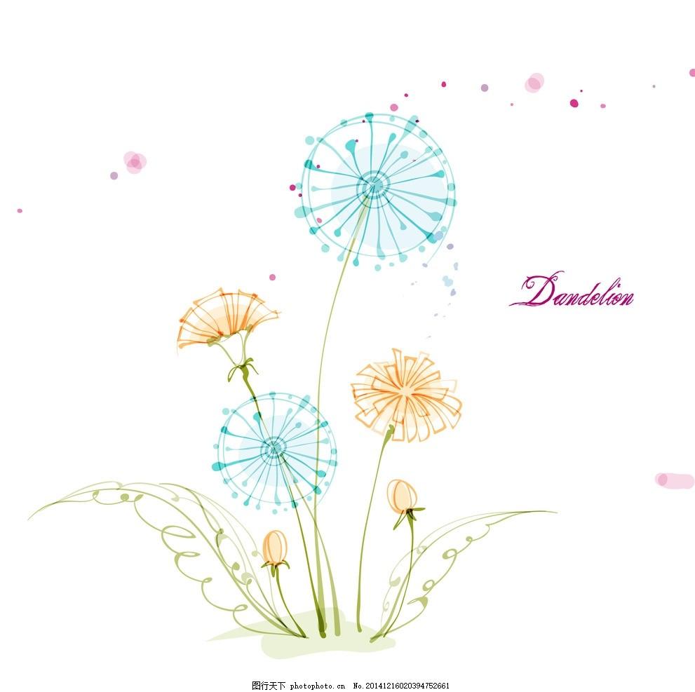 矢量蒲公英 蒲公英线条花 手绘花朵 线条花朵 时尚花纹花朵 花纹背景
